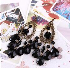 Black Water Drop Boho Long Tassel Bohemia Vintage Hook Dangle Earrings For Women