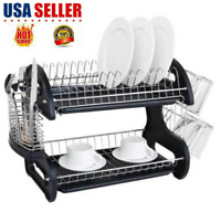 2 Tiers Dish Drying Rack Drainer Dryer Tray Kitchen Plate Cup Storage US SELLER