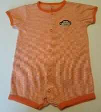 Carters 9 month Boy Orange And White Monkey one piece outfit.