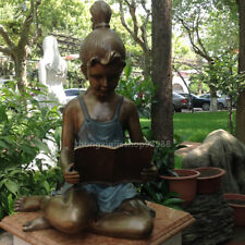 Western Art Deco Sculpture Lovely Girl studying hard Book Bronze Statue
