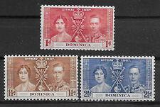 DOMINICA , CORONATION ISSUE,1937, GEORGE VI & ELIZABETH , SET OF 3 , M/H