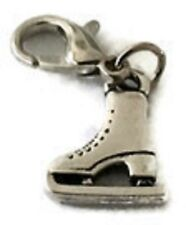 LOVELY  3D SILVER  ICE SKATE BOOT CLIP ON CHARM - 13.2mm x 14.2 mm -SILVER ALLOY