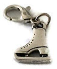 Precioso 3D Plata Hielo Skate Clip de arranque en Charm - 13.2mm X 14.2 Mm-Aleación De Plata
