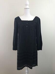 Madewell Peasant Dress Black Square Neck Sz Small Womens NWT $148 cotton Spring
