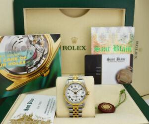 ROLEX MIDSIZE - 31mm 18kt Gold & SS Datejust White Roman 68273 SANT BLANC