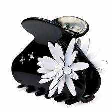 Moliabal Womens Medium Hair Claw -  Black with White Daisy
