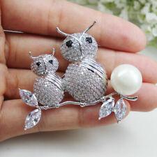 Pearl Brooch Pin Animal Zircon Crystal Silvre Tone Gorgeous Clear Owl Bird