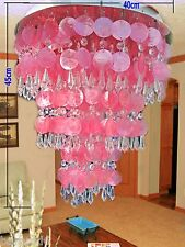 Chandelier Crystal lighting Pendant Lamp Ceiling Light Fixture capiz shell Pink