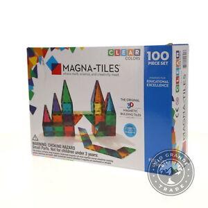OPEN BOX Magna Tiles 04300 Clear Colors Set Magnetic Building Tiles - 100 Piece