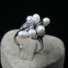 iSTONE Women's WONDERFUL 6-7 mm white natural freshwater pearls ring size 6-9#