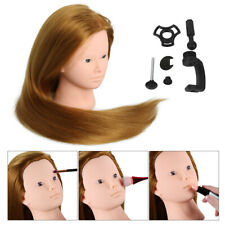 "24"" 70% Real Human Hair Training Head Practice Hairdressing Mannequin Doll&Stand"