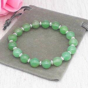 Handmade Natural Green Aventurine Gemstone Stretch Bracelet & Velvet Pouch.