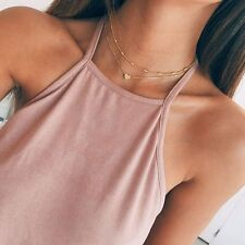925 Silver Gold Heart Choker Chunky Chain Bib Necklace Women Jewelry Pendant GF