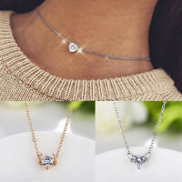 Silver Gold Plated Cyrstal Rhinestone Chain Choker Necklace Heart Pendant