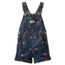 OshKosh Blue Jean Overall Shortalls With Embroidered Pink...