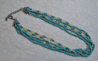 MULTI STRAND PINK AQUA BLUE & GREEN GLASS BEADED BOHO SILVER TONE NECKLACE 19""