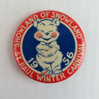 1956 St. Paul Winter Carnival Vintage Pinback Button - Minnesota Bear