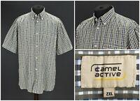 Mens Camel Active Casual Shirt Pocket Check Cotton Green Blue Size XXL / 2XL