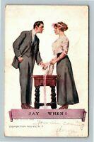 James Montgomery Flagg - Romance Beautiful Woman Man Staring c1910 Postcard
