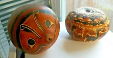 2 Beautiful Hand Made Carved Crafted Gourds 1 Bowl w Lid w Camels & Lg. Ladybug