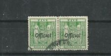 NEW ZEALAND-1938 5/- Green OFFICIAL   FINE USED  PAIR