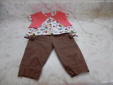 Baby Girl 3-6 Months Size 90 Floral Short Sleeve Top Brown Pants Outfit
