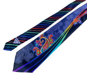 RECENT Vitaliano Pancaldi Satin Silk Navy Blue/Purple/Green Paisley Abstract Tie