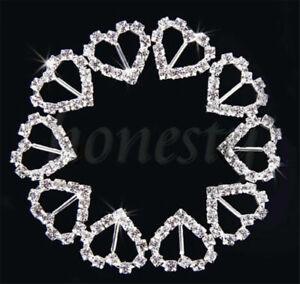 10/20 Stück Herz Kristall Strass Diamant Band Schnallen Schieber Hochzeit Dekor
