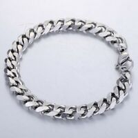 "8""-11"" MENS Stainless Steel Bracelet Cuban Link Chain Silver Gold 3/5/7/9/11mm"