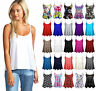 Womens New Plain Swing Vest Sleeveless Top Strappy Ladies Plus Size Flared*Cami