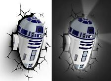 New STAR WARS ~ R2-D2 ~ 3D FX Deco Wall LED Light R2D2 Bedroom Nightlight