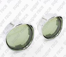 2x Smoke Turn Signal Light Lens Lense Chrome Trim Ring Visor For Harley Parts