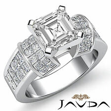 Fine Asscher Diamond Huge Engagement Ring GIA F Color VS2 14k White Gold 2.96 ct