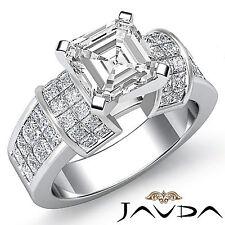 Fino Asscher Diamante Enorme Anillo de Compromiso GIA F Color VS2 14k Oro Blanco