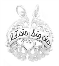 SILVER SHAREABLE FILIGREE FLOWERED LIL/ BIG SIS LITTLE SISTER BIG SISTER CHARM