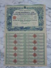 Action Lick & des brevets Paramount cent francs au porteur 1925