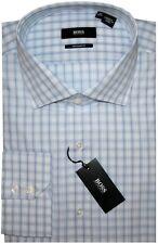 NWT HUGO BOSS WHITE & LIGHT BLUE PLAID CUTAWAY COLLAR DRESS SHIRT 17.5 32/33