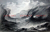 SAILBOAT SHIPWRECK IN STORM WAVES ROCKY SEA COAST ~ 1867 Art Print Engraving