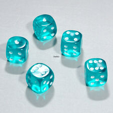 25 Stück 15mm Transparent Aqua Knobel Würfel / Augen Würfel Frobis Spielwürfel