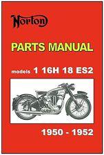 NORTON Parts Manual Models 1 Big 4 16H 18 ES2 1950 1951 1952 Spares Catalog List