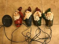 Solar Powered Light Gnomes Speak 4 Set LEDs Lights Tree Hangers