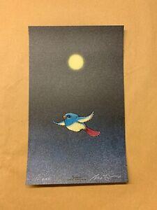 MARQ SPUSTA SOARING BLACK Shimmer Variant Signed Art Print sun peacock 2 birds