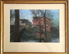 Original Oil Pastel by the Artist J. F. Larkin. Landscape with bridge.