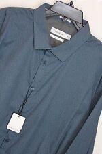 New Calvin Klein Slim Fit dress shirt XL Blue Micro Star Print Shirt #1101 -1111