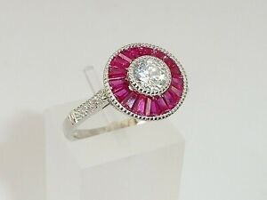 Ladies Handmade Halo Design 925 Sterling Solid Silver White Sapphire & Ruby Ring