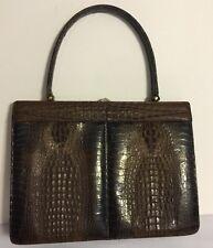 STUNNING VINTAGE GENUINE HORNBACK CROCODILE ALLIGATOR purse handbag