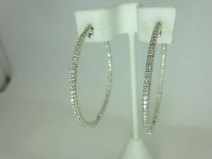 14k White Gold 2.25 ct Diamond Hoop Earrings Large Inside Out 48mm. 1.9 inches