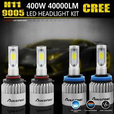 4PCS 9005 H11 LED Total 400W 40000LM Combo Headlight 6000K Cool White Kit Bulbs
