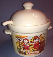 Campbells Kids Soup Tureen With Lid and Ladle 1998 HH Houston Harvest Ceramic