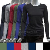 Dickies Girl T-shirt Women Scrubs Slim Crew Neck Long Sleeve Tee Solid Color Top